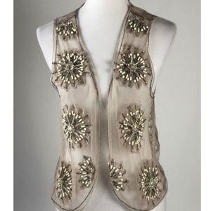 Chico's Womens Beige Sheer Lace Vest